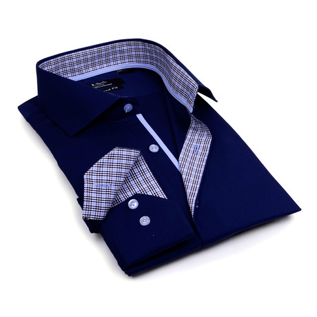 Contrast Collar Solid Button-Up // Navy + Check Trim (S)