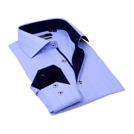 Contrast Collar Solid Button-Up // Blue Pattern + Navy Trim (S)