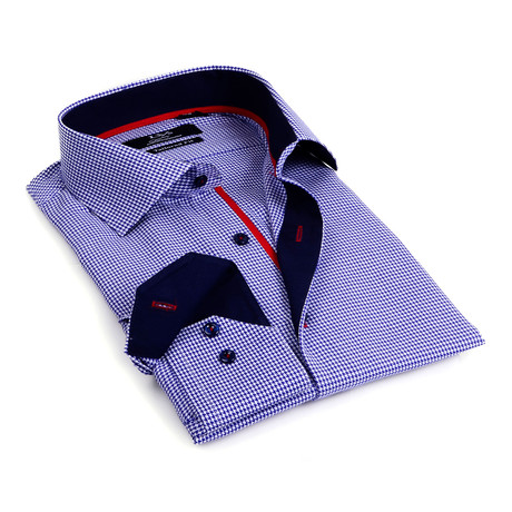 Contrast Collar Solid Button-Up // Navy + Navy Trim (S)