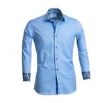 Paisley Reversible Cuff Button Down Shirt // Sky Blue (S)