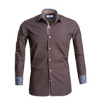 Reversible Cuff Button Down Shirt // Chocolate Brown (S)