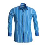 Reversible Cuff Button Down Shirt // Blue + Green (S)