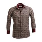 Reversible Cuff Button Down Shirt // Burgundy + Beige (S)