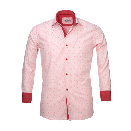 Floral Reversible Cuff Button Down Shirt // Light Pink (S)