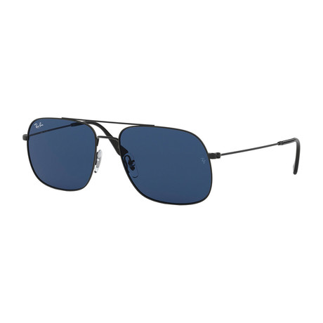 Unisex Square Aviator Sunglasses // Black + Dark Blue