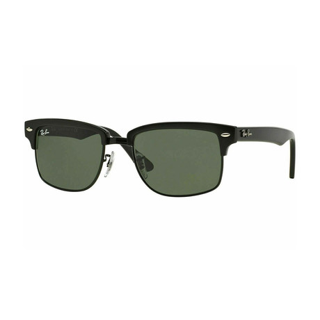 Men's Clubmaster Square Sunglasses // Glossy Black + Green