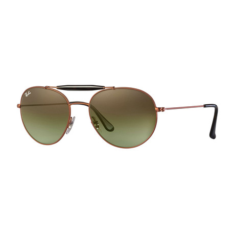 Unisex Round Aviator Sunglasses // Bronze + Green Gradient