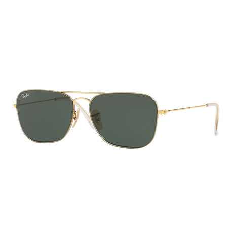 Unisex Pilot Sunglasses // Gold + Green Classic