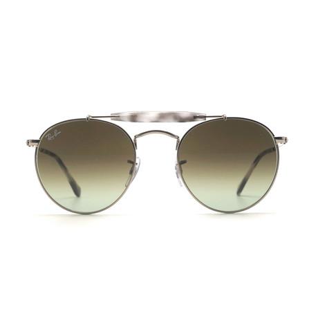Unisex Round Aviator Sunglasses // Silver + Green