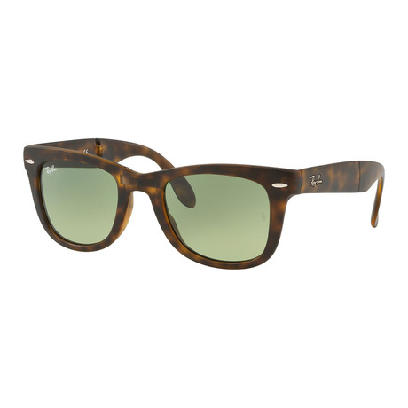 Unisex Wayfarer Folding Sunglasses // Havana + Green Gradient