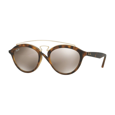 Unisex Gatsby Oval Double Bridge Sunglasses // Tortoise + Light Brown