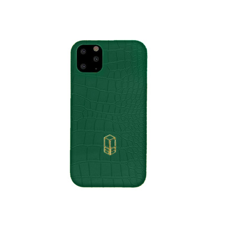 Elemnt // Embossed Leather iPhone Case // Green (iPhone XS)