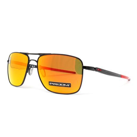 Men's Gauge 6 OO6038 Polarized Sunglasses // 57mm // Polished Black + Orange