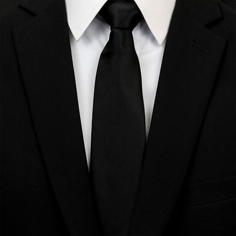 Silk Neck Tie + Gift Box // Solid Black