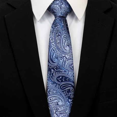 Silk Neck Tie + Gift Box // Metallic Blue Paisley