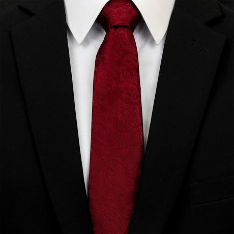 Silk Neck Tie + Gift Box // Solid Burgundy Paisley