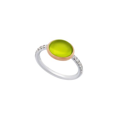 Mimi Milano 18k Two-Tone Gold Diamond + Peridot Ring // Ring Size: 6.25