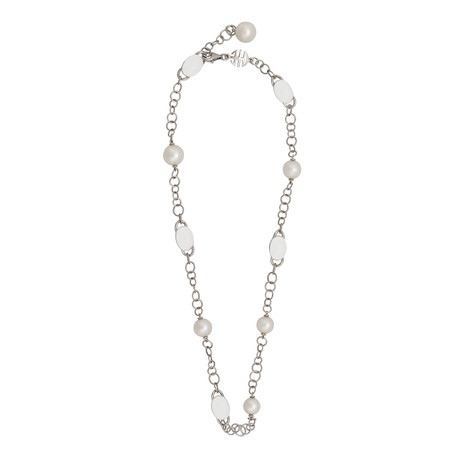 Mimi Milano 18k White Gold Milky Quartz Necklace
