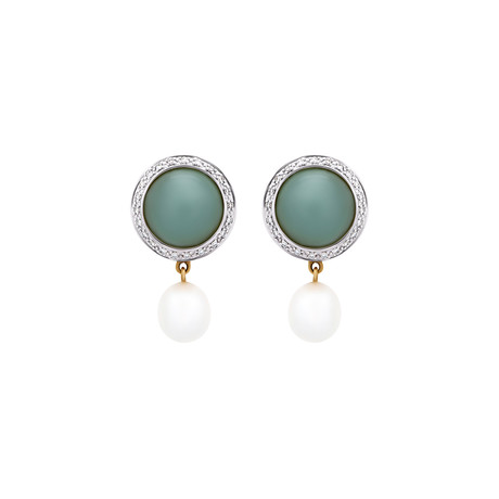 Mimi Milano 18k White Gold Diamond + Aquamarine Earrings