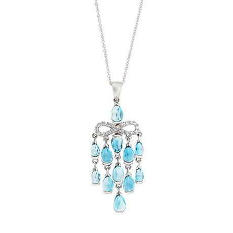 Mimi Milano 18k White Gold Diamond + London Blue Topaz Necklace // Store Display