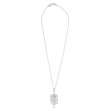 Mimi Milano 18k White Gold Diamond + White Topaz Necklace