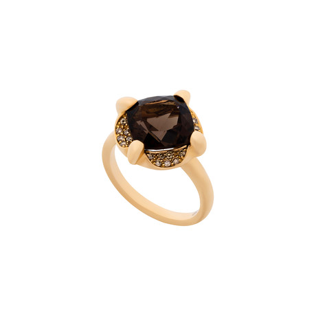 Mimi Milano 18k Two-Tone Gold Diamond + Smoky Quartz Ring // Ring Size: 6.25