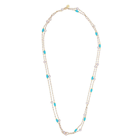 Mimi Milano 18k Yellow Gold Turquoise Necklace
