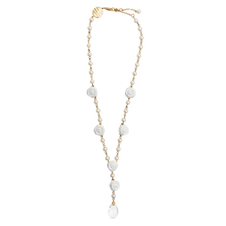 Mimi Milano 18k Rose Gold Diamond + White Agate Necklace