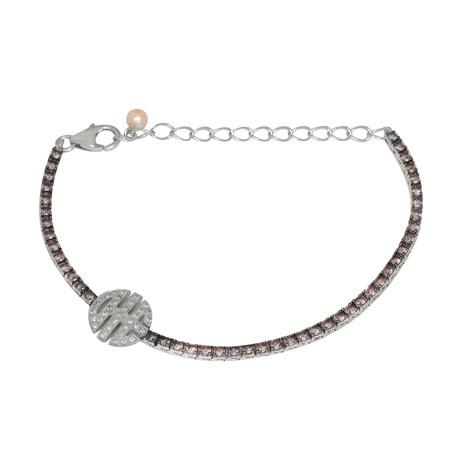 Mimi Milano Sterling Silver Diamond + Pink Sapphire Bracelet