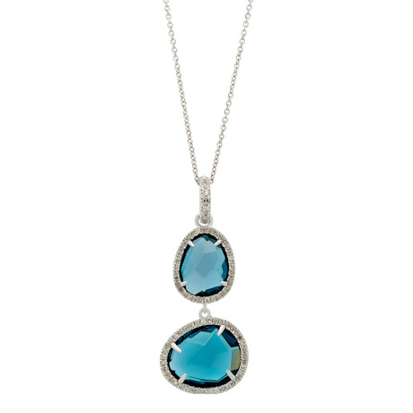 Mimi Milano 18k White Gold Diamond + London Blue Topaz Necklace II
