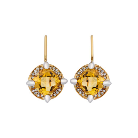 Mimi Milano 18k Two-Tone Gold Diamond + Citrine Earrings II