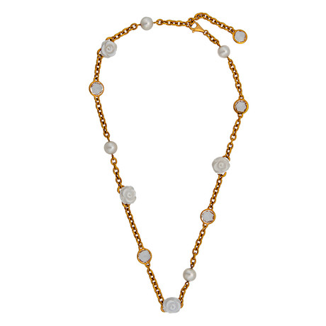 Mimi Milano 18k Rose Gold White Agate Necklace
