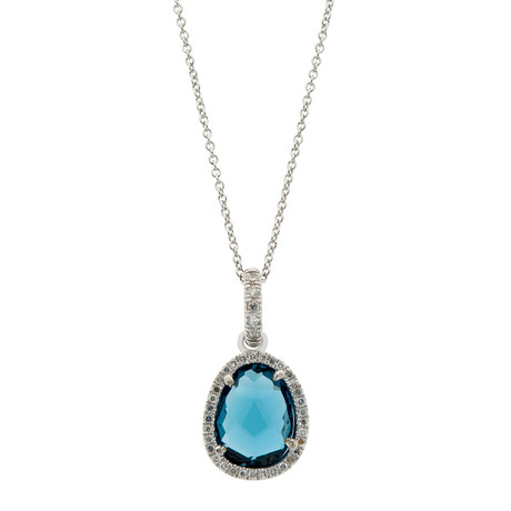 Mimi Milano 18k White Gold Diamond + London Blue Topaz Necklace I