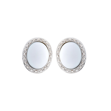 Mimi Milano 18k Two-Tone Gold Diamond + White Agate Earrings