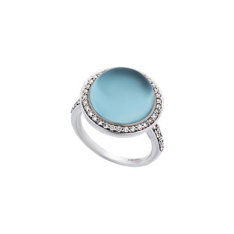 Mimi Milano 18k White Gold Diamond + Blue Topaz Ring // Ring Size: 6.75