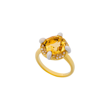 Mimi Milano 18k Two-Tone Gold Diamond + Citrine Ring // Ring Size: 6.5
