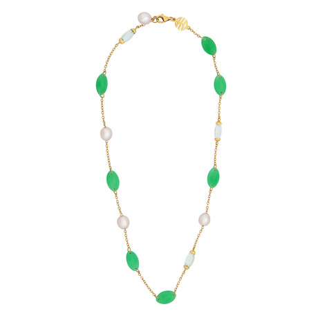 Mimi Milano 18k Yellow Gold Green Jade Necklace I