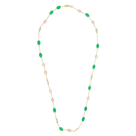 Mimi Milano 18k Yellow Gold Green Jade Necklace II
