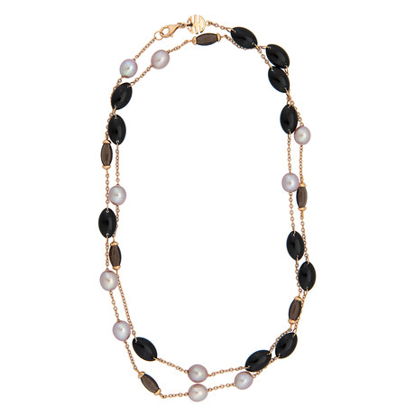 Mimi Milano 18k Rose Gold Black Agate Necklace I
