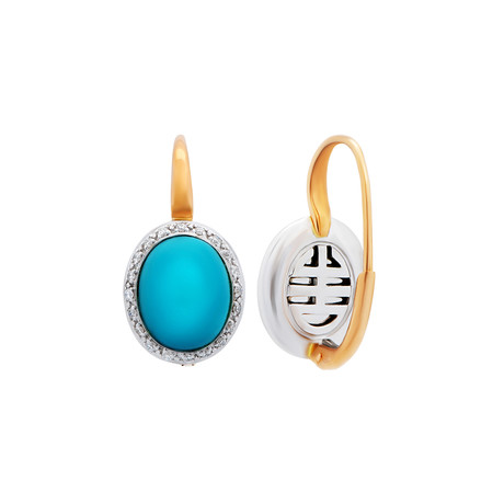 Mimi Milano 18k Two-Tone Gold Diamond + Turquoise Earrings