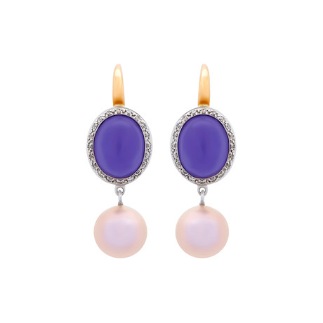 Mimi Milano 18k Two-Tone Gold Diamond + Lavender Jade Earrings