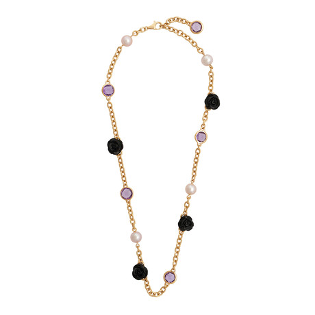 Mimi Milano 18k Rose Gold Black Agate Necklace III