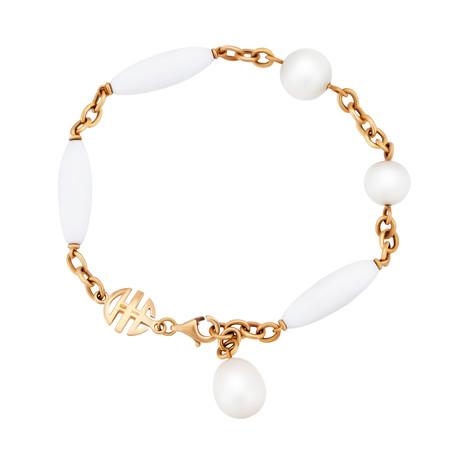 Mimi Milano 18k Rose Gold White Agate Bracelet