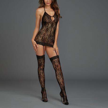 Lace Garter Dress // Black // One Size