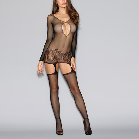 Fishnet Garter Dress // Black // One Size