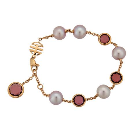 Mimi Milano 18k Rose Gold Garnet Bracelet