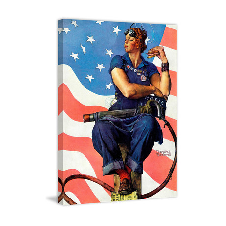 "Rosie the Riveter // Painting Print on Wrapped Canvas (24""W x 31""H x 1.5""D)"