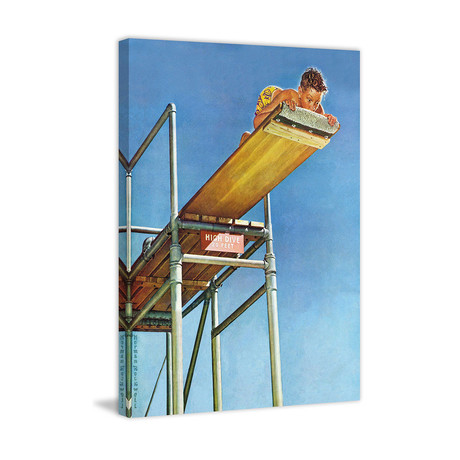 "Boy on High Dive // Painting Print on Wrapped Canvas (24""W x 31""H x 1.5""D)"