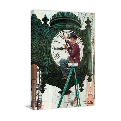 "Clock Repairman // Painting Print on Wrapped Canvas (24""W x 31""H x 1.5""D)"
