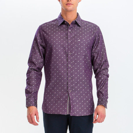 Philip Slim Fit Long Sleeve Button Down Shirt // Purple (S)